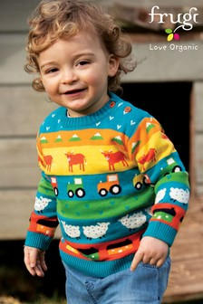 Frugi GOTS Organic Fairisle Knitted Jumper - Tractor and Sheep