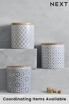 Set of 3 Geo Ceramic Storage Jars