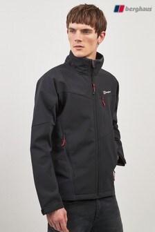 Kruczoczarna kurtka z tkaniny softshell Berghaus Ghlas