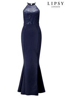 Платье макси с кружевом, блестками и высокой горловиной Lipsy