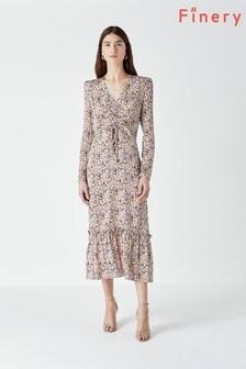 فستان لون كريم متوسط الطول مطبوع EdwinمنFinery