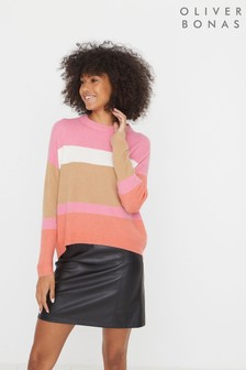 Oliver Bonas Pink Colourblock Striped Knitted Jumper