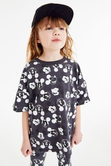 Charcoal Mickey Mouse™ Print T-Shirt & Cycling Shorts Set (3-16yrs)