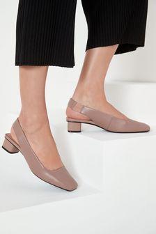נעלי עקב בלוקעם רצועה אחורית מעור