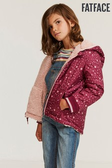 FatFace Red Reversible Star Print Popover Jacket