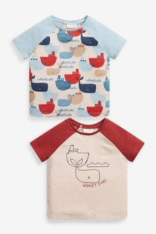 2 Biologisch katoenen stretch-T-shirts met dinosaurusprint (0 mnd-3 jr)