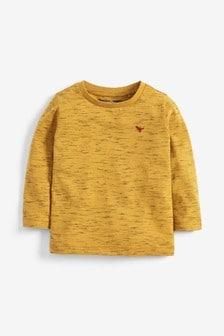 Однотонная футболка с длинным рукавом (3 мес.-7 лет)