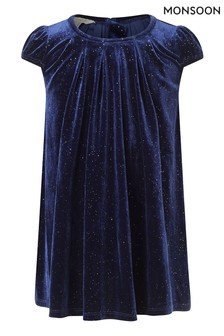 Monsoon Blue Baby Navy Velvet Swing Dress S.E.W