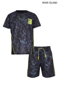 River Island ActiveT-Shirt-Set aus Netzstoff mit Camouflage-Muster