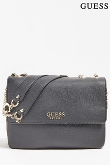 Guess Black Chain Convertible Cross Body Bag