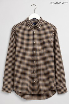 Gant Brown Winter Twill Buffalo Check Regular Shirt