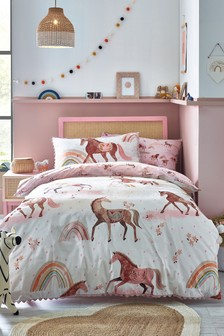 Dusty Pink Organic Cotton Reversible Duvet Cover And Pillowcase Set