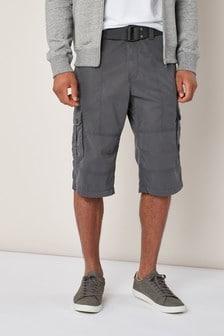 Predĺžené kapsáčové šortky s opaskom