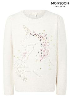 Monsoon Pullover mit heißgeklebtem Einhorn-Design, Creme – Creme