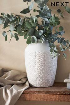 White Large Tile Embossed Ceramic Vase