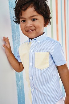 Short Sleeve Stripe Colourblock Shirt (3mths-7yrs)