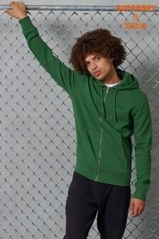 Superdry品牌核心標誌色調拉鍊連帽上衣