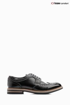 Base London Black Kent Hi Shine Lace Up Brogue Shoe