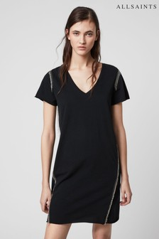 AllSaints Metallic Fringed Emelyn T-Shirt Dress
