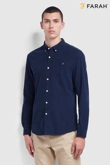 قميص تفصيلة ضيقة كم طويل محزز Fontella أزرق من Farah