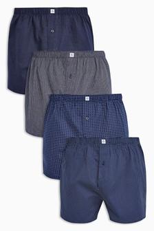 Set van vier geweven boxershorts van zuivere katoen, met motief