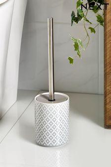 Szara szczotka do toalety ze wzorem geometrycznym