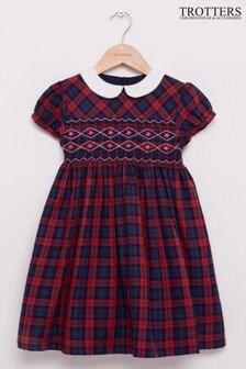 שמלת משבצות טרטן שלTrotters London דגם Charlotte עם כיווצים