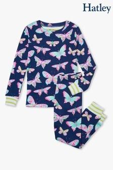 Hatley Delightful Pyjama-Set aus Bio-Baumwolle mit Schmetterlingdesign, Marineblau/Blau