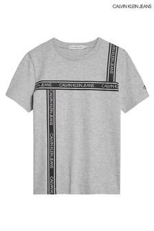 تي شيرت شريط شعار رمادي من Calvin Klein Jeans