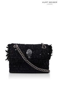 Черная маленькая твидовая сумка Kurt Geiger London Kensington