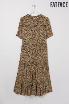 FatFace Natural Ella Ikat Texture Midi Dress