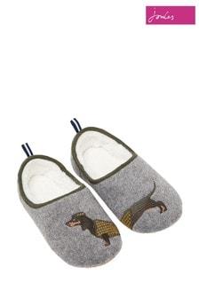 Joules Grey Felt Mule Appliqué Slippers