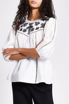 River Island White Embroidered Smock Top