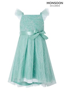 Monsoon Blue Araminta Glitter Net Teal Dress