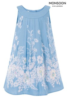 Monsoon VerziertesSwing-Kleid mit Blumenmuster, Blau
