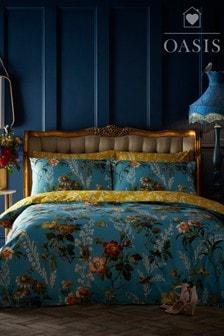 Oasis Teal Leighton Floral Cotton Duvet Cover and Pillowcase Set