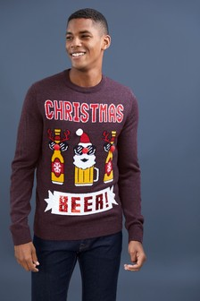 Sweter z okrągłym dekoltem z motywem świątecznego piwa