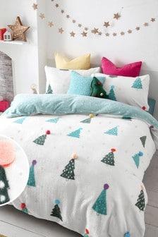 Multi 3D Pom Pom Christmas Trees Fleece Duvet Cover and Pillowcase Set