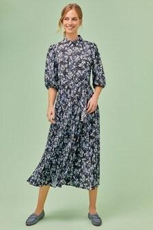 Платье-рубашка с плиссированной юбкой