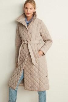 Длинное дутое пальто с поясом