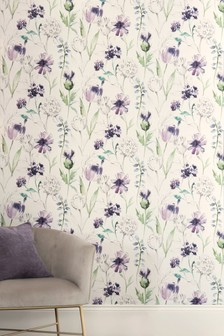 Papel pintado con estampado floral en color morado de Paste The Wall