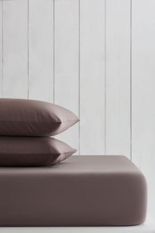 Taupe Natural Cotton Rich Fitted Sheet