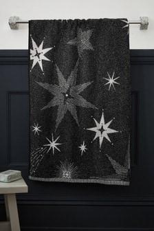 Charcoal Grey Sparkle Star Towel