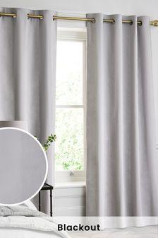 棉質格紋300織數遮光襯裡金屬環窗簾