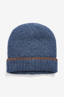 Pletená čiapka s trblietavým lemom