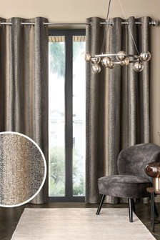 Metallic Stripe Eyelet Lined Curtains