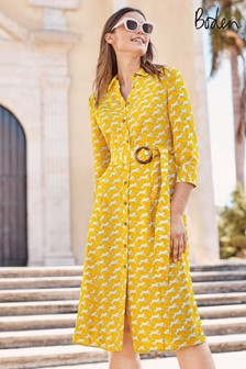 Boden Yellow Olivia Linen Shirt Dress