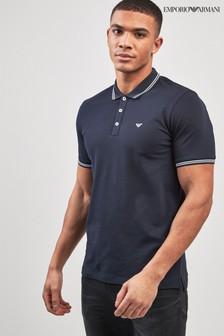 Рубашка поло с контрастной окантовкой Emporio Armani