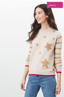 Joules Natural Chantelle Knitted Star Intarsia Jumper