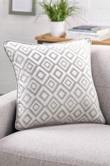 Серебристая жаккардовая подушка с геометрическим рисунком Zion